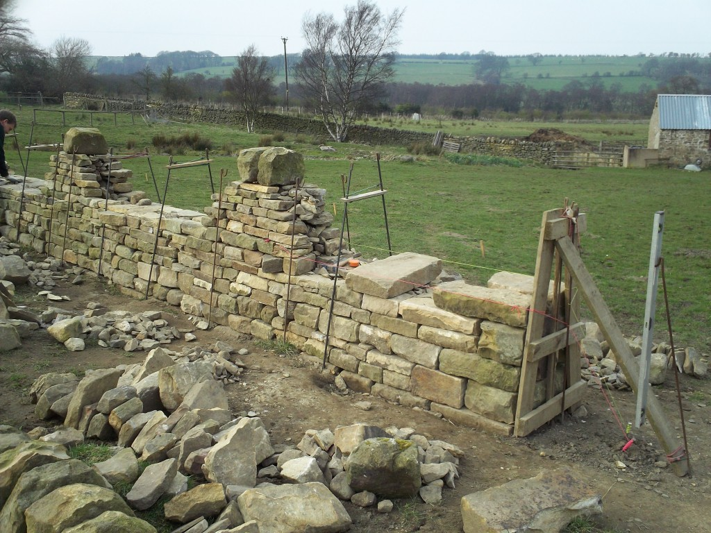 Dry Stone Wall End at Through Stone Level