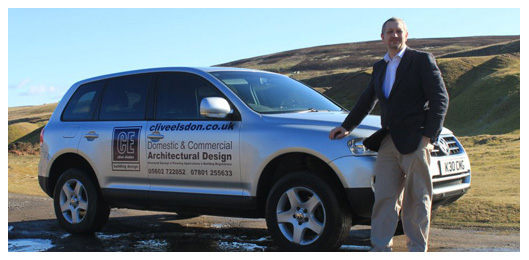 Clive Elsdon of Clive Elsdon Building Design with his sign written car