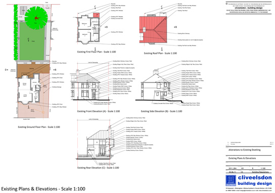 An example of the existing drawings produced following the survey of a domestic property