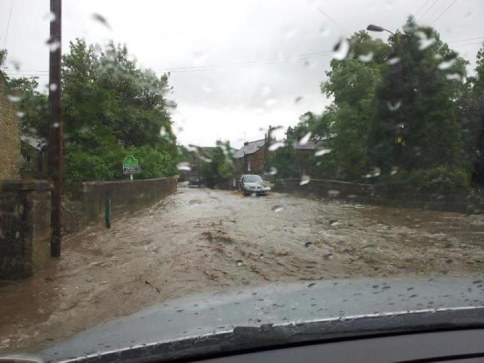 Flooded road in Wolsingham, County Durham